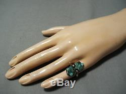 Early 1900's Vintage Zuni Dishta Cerrillos Turquoise Sterling Silver Ring Old