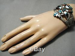 Early 1900's Vintage Zuni Turquoise Sterling Silver Bracelet Old