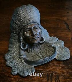 Early 1900s Antique Native American Indian Chief in Headdress Inkwell Judd Mfg