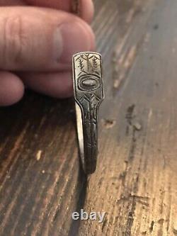 Early 1900s Sterling Silver Tlingit Womens Bracelet Long Beak Raven Alaska