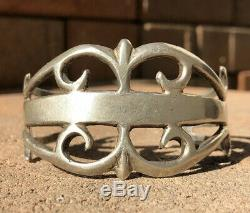 Early 1940's Old Pawn Navajo Sand Cast Coin Silver Wide Ingot Cuff Bracelet #2