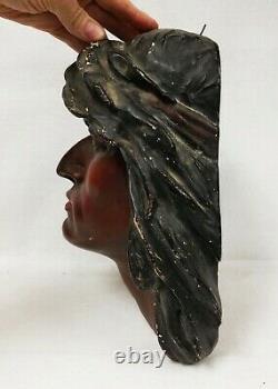 Early 20th c. Hiawatha Chalkware Native American Indian Wall Mount Bust