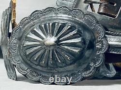Early Authentic Vintage Navajo Hand Tooled Sterling Silver Concho Belt