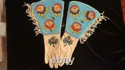 Early Beaded Gauntlets with large cuff from 1800's Native American Blackfeet Ind