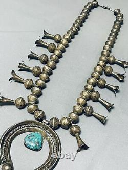 Early Big Bead Vintage Navajo Turquoise Sterling Silver Squash Blossom Necklace