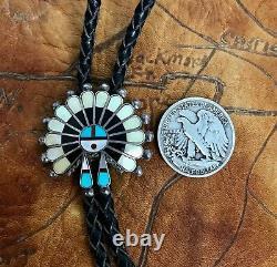 Early C-31 Native American Sterling Silver Zuni Inlaid Sunface Bolo V Unkestine