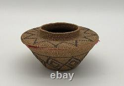 Early California Yokuts Basket with red yarn