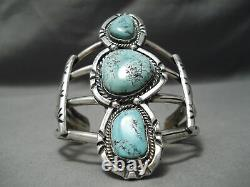 Early Carling Turquoise Towerinv Vintage Navajo Sterling Silver Bracelet