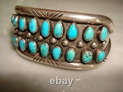 Early Century Navajo Pueblo Petit Point Blue Gem Turquoise Chiseled Bracelet