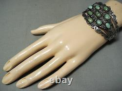 Early Coin Silver Vintage Navajo Cerrillos Turquoise Bracelet Old