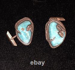 Early Dan Simplicio Zuni Sterling Silver Kingman Turquoise Snake Cufflinks