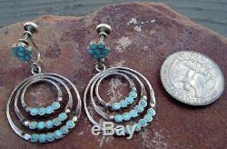 Early Dishta Sterling Silver & Turquoise Earrings. Beautiful