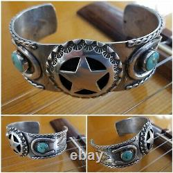 Early Fred Harvey Era Sterling Turquoise Horseshoe Lone Star Cuff (53 grams)