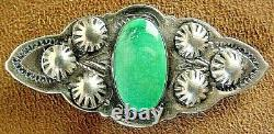 Early Fred Harvey Era Vintage Navajo Sterling Silver Fine Turquoise Pin Brooch