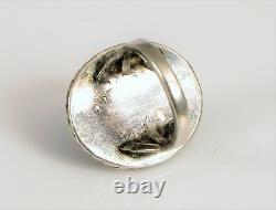 Early Fred Harvey Sterling Silver Navajo Native American Green Turquoise Ring S4