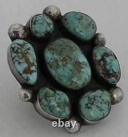 Early HUGE Native American Navajo Sterling silver Turquoise vintage cluster ring