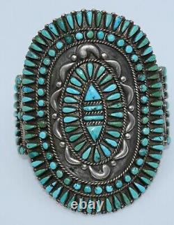 Early HUGE Native American Zuni petit point cluster Turquoise cuff bracelet