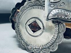 Early Hand Tooled Vintage Navajo Coin/ Sterling Silver Concho Belt Old