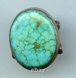 Early Harvey Era Spiderweb Turquoise Old Pawn Navajo Sterling Sz 6 Ring