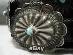 Early Highly Detailed Sterling Silver Turquoise Concho Belt Old
