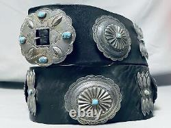 Early Huge Hand Tooled Vintage Navaj Turquoise Sterling Silver Concho Belt