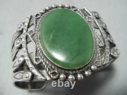 Early Huge Vintage Navajo Cerrillos Turquoise Sterling Silver Bracelet