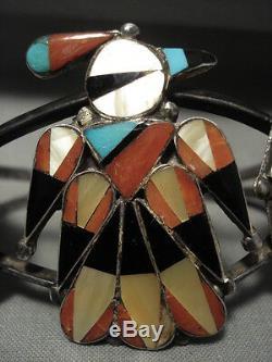 Early Huge Vintage Zuni Turquoise Coral Silver Patina Bracelet
