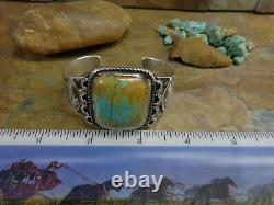 Early! Incredible! Large Navajo Royston Gem Turquoise Cuff Sterling Fred Harvey