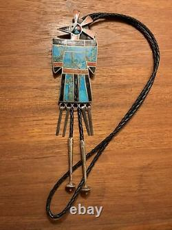 Early Large Sterling Silver Turquoise Coral Thunderbird Bolo Tie Native American