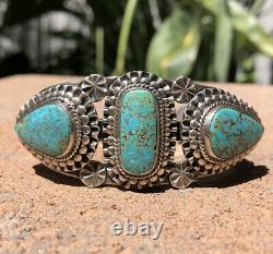 Early Museum Navajo High Grade Natural Number 8 #8 Silver Stamped Cuff Bracelet