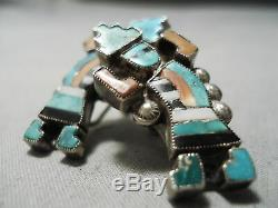 Early Museum Quality Vintage Zuni Turquoise Coral Sterling Silver Earrings Old