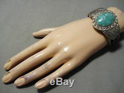 Early Museum Vintage Navajo Carico Lake Turquoise Sterling Silver Bracelet Old