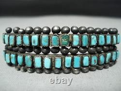 Early Museum Vintage Zuni Squared Turquoise Sterling Silver Bracelet