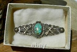 Early NAVAJO FRED HARVEY TRADE / POST ERA STERL TURQUOISE CROSSED ARROW BROOCH