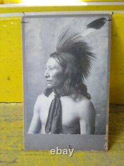 Early Native American Chief Big Face Cabinet Card Oklahoma Photographer Shiffert