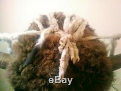 Early Native American Indian Buffalo Fur Horn Headdress Warrior Bonnet 19th C