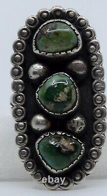 Early Native American Navajo Sterling silver Green Turquoise vintage rustic ring