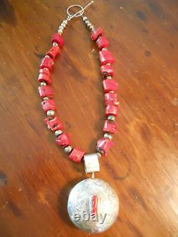 Early Native American large rare Coral Necklace with sterling drop pendant