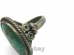 Early Navajo Coin Ingot Silver Royston Turquoise Ring