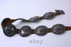 Early Navajo Concho Belt Sun Style Round Conchas c. 1910