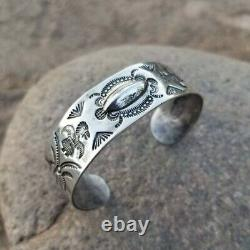 Early Navajo Fred Harvey Era Coin Silver Cuff Bracelet Whirling Logs Log