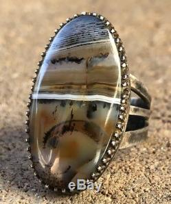 Early Navajo Fred Harvey Era Sterling Silver Petrified Wood Agate Ring