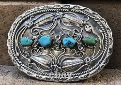 Early Navajo Gem Grade Sleeping Beauty Turquoise Sterling Silver Belt Buckle