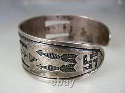 Early Navajo Hand Made Sterling Silver & Natural Green Turquoise Bracelet