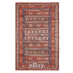 Early Navajo Kilim Rug Native American Textile Large 120 X 60 Vivid Coloration