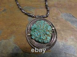Early Navajo Kingman Seafoam Turquoise Sterling Necklace Squash Blossom Old Pawn