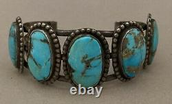 Early Navajo Men's Natural Turquoise Sterling Silver Vintage Cuff Bracelet. 925