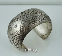 Early Navajo Native American Sterling Silver Hollow Cuff Bracelet Old Deal Pawn
