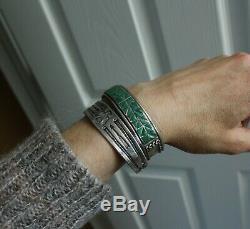 Early Navajo Native American Thunderbird Ingot Silver Cuff Bracelet