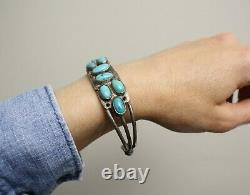 Early Navajo Native American Turquoise Sterling Silver Cuff Bracelet Large Size